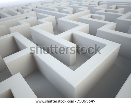 Maze close-up - complex problem solving concept - stock photo