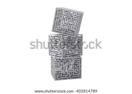 Maze cubes piling on a white background