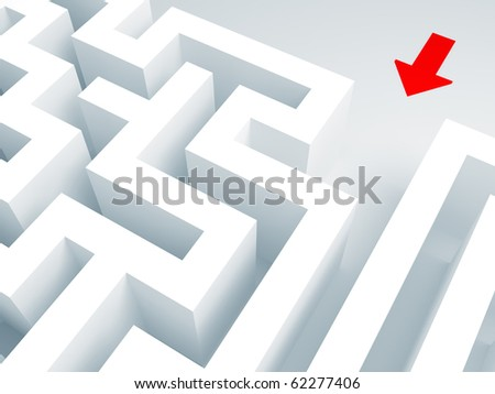 maze 3d and red arrow concept background - stock photo