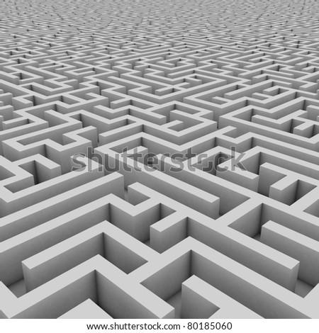 maze 3d illustration - stock photo