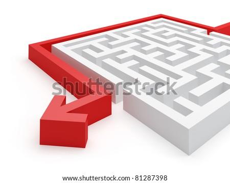 Maze easy solution - stock photo