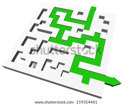 maze green path - find solution  - stock photo