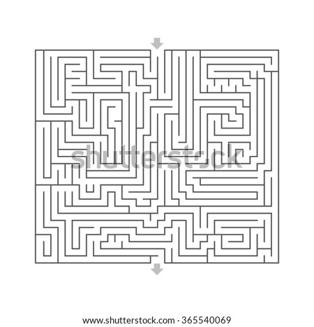 maze hard design puzzle with specify input and output White - stock photo
