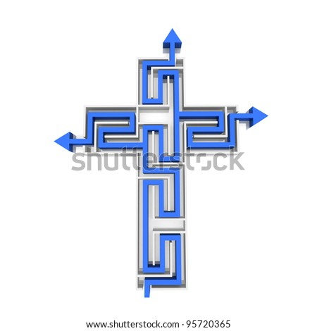 maze in the shape of the cross through which the needle - stock photo