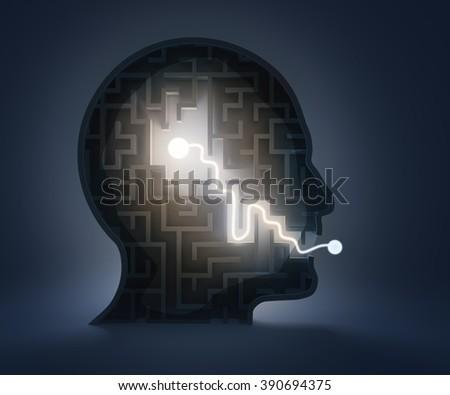 Maze inside a head - from brain to speech - stock photo