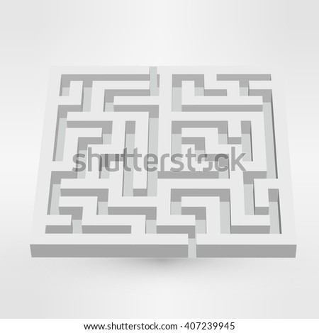 Maze labyrinth puzzle white on grey background. 3D illustration - stock photo