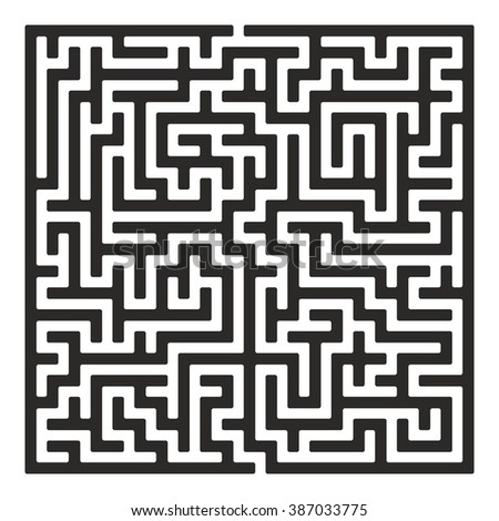 Maze. Labyrinth with Entry and Exit. Find the Way Out Concept. Transportation. Logistics Abstract Background Concept. Business Path Concept. Raster Illustration. - stock photo