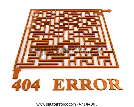 Maze labyrinth with 404 error. 3D - stock photo