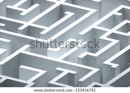 maze-like way of thinking, it is difficult and confusing - stock photo