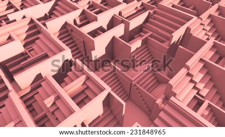 maze made of random rotated cubes with ladders - stock photo