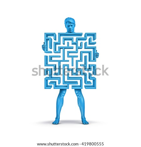 Maze man blue / 3D illustration of man holding maze which forms his body