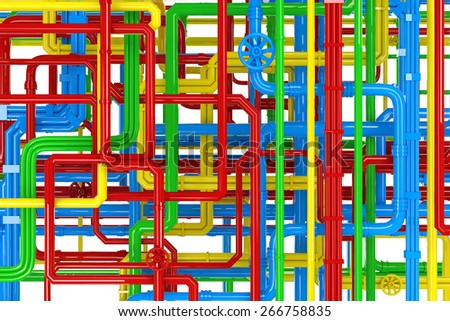 Maze of colorful pipes background - stock photo
