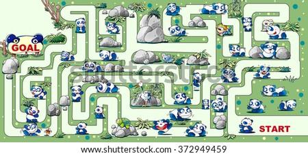 Maze of panda - stock photo