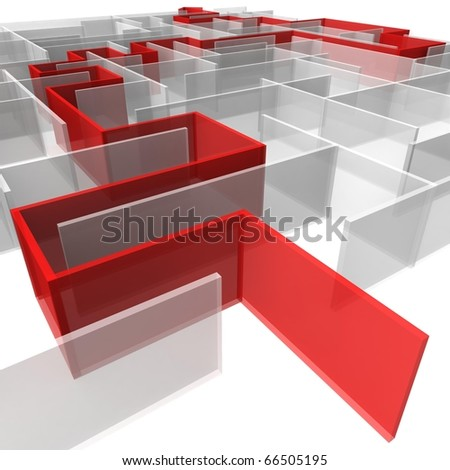 maze of rectangular panels between which the red arrow. 3d computer modeling - stock photo