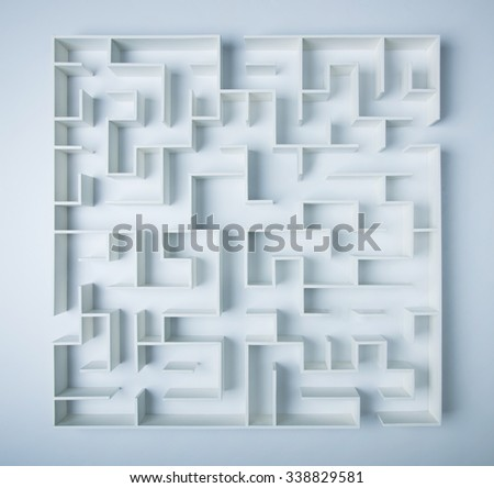Maze on white background concept for decision-making - stock photo