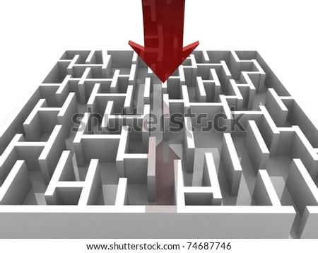 maze over which goes hand