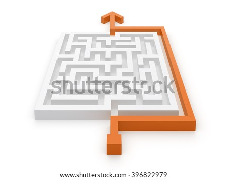 Maze Puzzle Easy Solution. 3D Illustration - stock photo