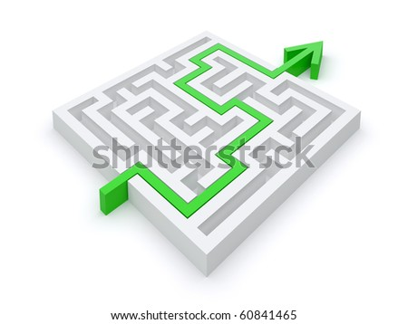 Maze puzzle right path - stock photo