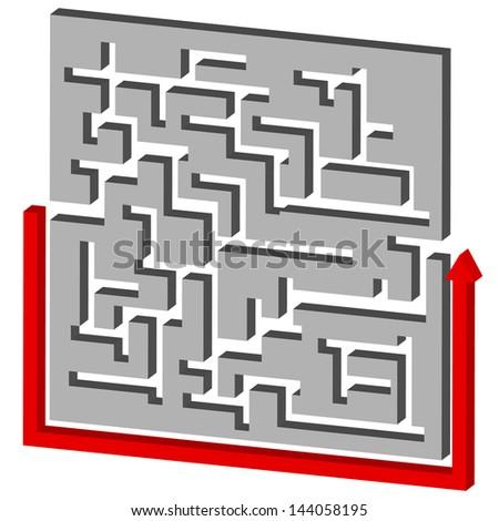 Maze Puzzle Solution - stock photo