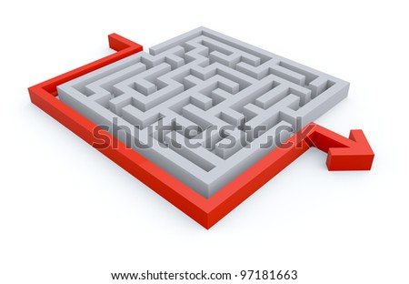 Maze puzzle solution - stock photo