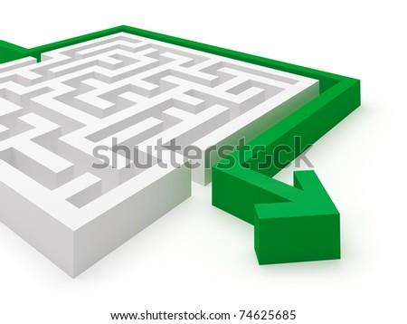 Maze puzzle solved - stock photo