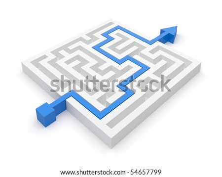 Maze puzzle solved by blue arrow - stock photo
