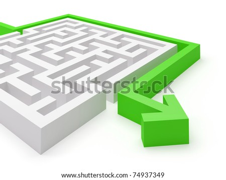 Maze puzzle solved by green arrow - more variations in portfolio - stock photo