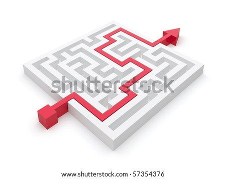 Maze puzzle solved by red arrow - stock photo