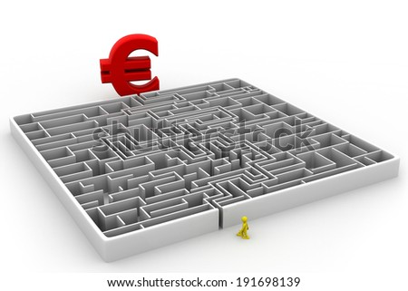 Maze puzzle solved; euro and man;  - stock photo