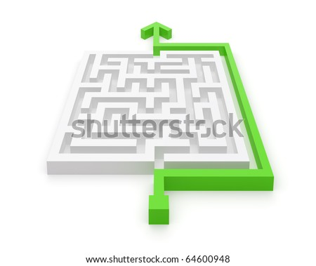 Maze smart solving solution by green arrow - stock photo