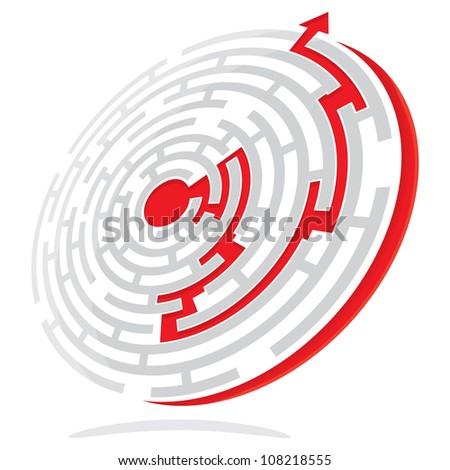 Maze Solution - stock photo