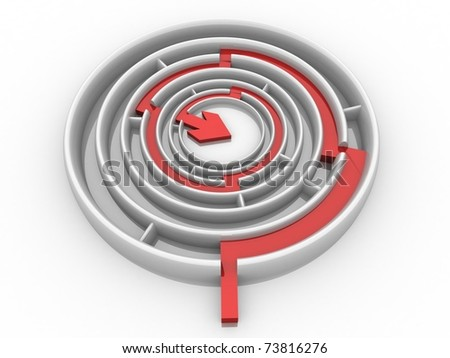 maze through which paved the way an arrow - stock photo