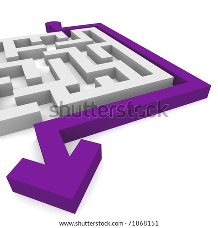 maze, which bypasses the arrow - stock photo