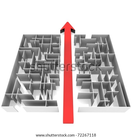 maze, which is cut into two halves by an arrow - stock photo
