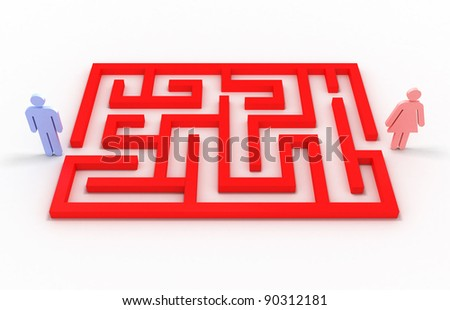 Maze with a man and a woman on white background. 3D image - stock photo