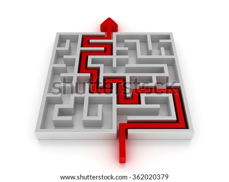 Maze with Arrow across the solution - High Quality 3D Render