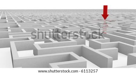 Maze with red arrow - stock photo
