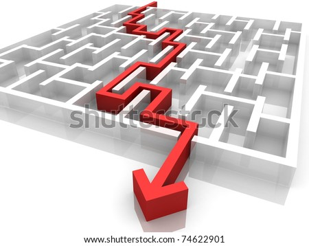 Maze within which the needle passes - stock photo