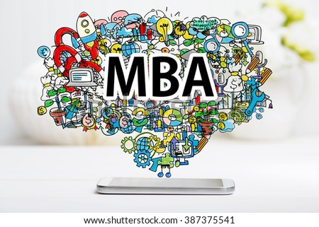 MBA concept with smartphone on white table - stock photo