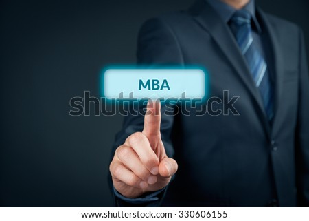 MBA education concept. Businessman click on mba button.