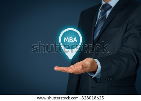 MBA education concept. Businessman offer mba education. - stock photo