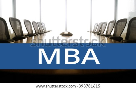 MBA text  message with conference room.for business education concept - stock photo