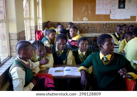 MBONENG PRIMARY SCHOOL, ISANDLWANA VILLAGE, KWAZULU NATAL, SOUTH AFRICA - MAY 28, 2015 : Overcrowded classrooms are still a reality in many rural african schools.