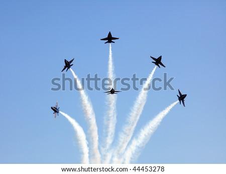 MCAS MIRAMAR, CA - OCTOBER 3: Blue Angels squadron Air Show October 3, 2009 on MCAS Miramar, CA - stock photo