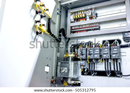MCB electrical distribution panel grey many switch breaker and button space left