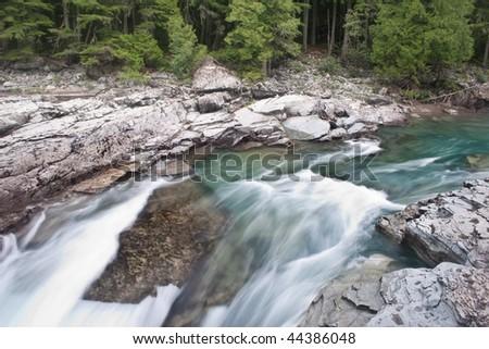 McDonald Creek in Glacier National Park, Montana - stock photo