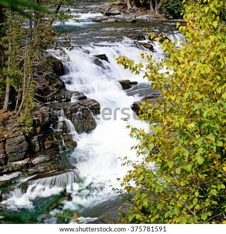 McDonald Creek in Glacier National Park, Montana, USA - stock photo