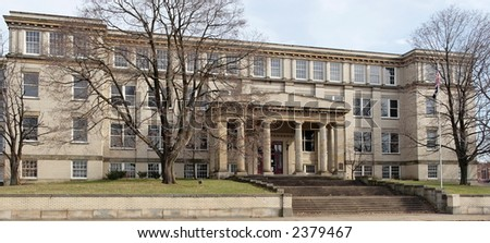 McKinley High School winter shot. Opened in 1918 in Canton, Ohio. Closed in 1976. - stock photo
