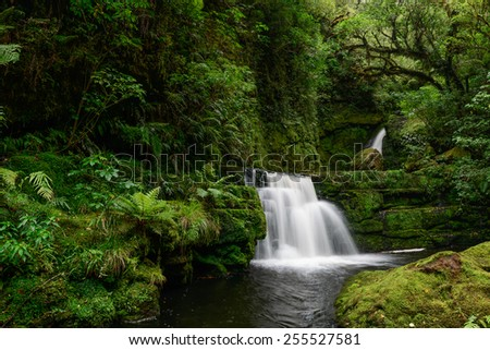Mclean Falls In Catlins Conservation Park, New Zealand's South Island. - stock photo