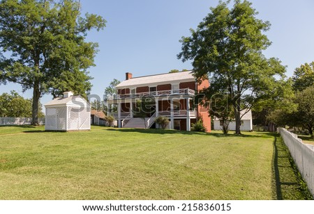 McLean House was the building in Appomattox which was the site of the surrender of Southern Army under General Robert E Lee to Ulysses S Grant April 9, 1865 - stock photo